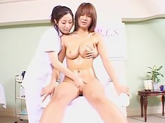 Secret webcam in massage parlor incisive two Asian dolls
