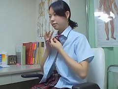 Japanese schoolgirls downstairs vigorous medical checkup on eavesdrop cam