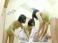 Dressing room girl shows nudity with the addition of body flexibility