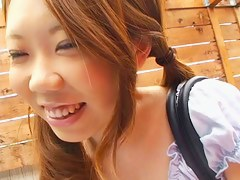 Asian brunette chick in down blouse videos