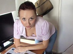 brunette-vixen-reading-paper-in