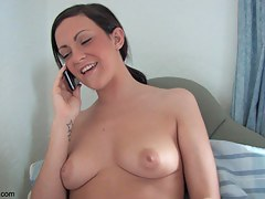 Fuckable brunette with nice Bristols in hot nearby blouse video