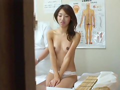 Asian skirt gets bare and pussy fucked by masseur on spy cam