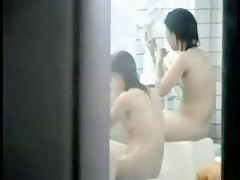 Asian tennis players washing in public shower spy video