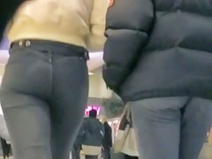 Hot ass in jeans on candid street video