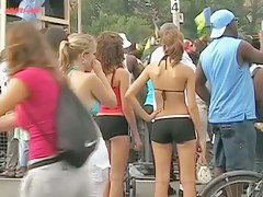 Perfect teen asses in tight shorts on street candid