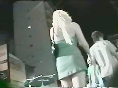 Candid street upskirt with hot blonde chick in green dress