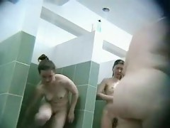 Bunch of  babes captured on a shower spy cam