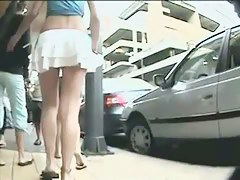 Candid ass voyeur video of a hot chick walking the street with no panties on