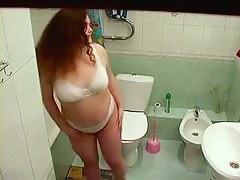 Chubby redhead amateur shower cam