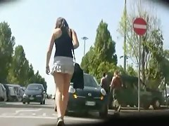 Slow motion candid shots with amazing teen asses