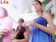 Teen upskirt video reveals some peculiar looking panties