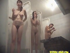 Erotic gals on shower spy cam rub tits, butts, nubs