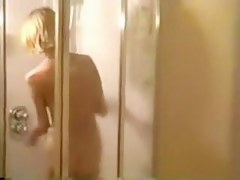 Blonde babe shower spy cam scenes spied through window