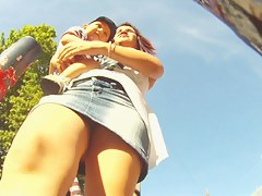 Hot upskirt views caught on the street with sexy babes