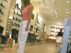 Big candid butt in white sexy pants