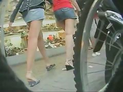 Hot upskirt video with sexy babes on the street
