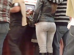 A rich ass in tight jeans in this spy cam video