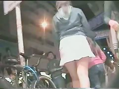 Hot up skirt with teen blonde in public place