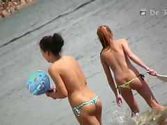 Nude beach voyeur video of hot playful girls in water