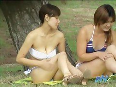 Two Japanese chicks in a kinky bikini sharking video