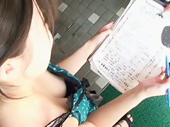 Downblouse filming by a voyeur guy on the street