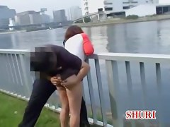 Man sharks girls skirt up and spreads butt cheeks