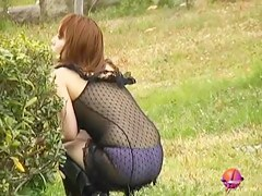 Japanese girl left only in panties after kinky sharking