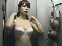 Naked Asian bazoongas caught on a changing room spy cam