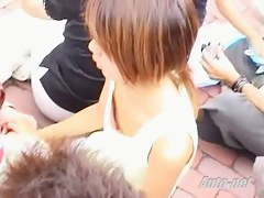 Blonde Japanese babe gets on teen down blouse