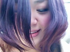 Cute Japanese chick laughs, her mini titties jiggle in a doublouse