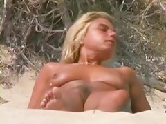 Hot babes with naked hairy or shaved pussies at the beach