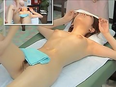 Erotic massage with skinny oriental girl being fully nude during hot session