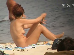 Mature bimbos get their panties in voyeur nudist beach video