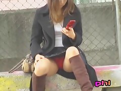 Girl with the red panties was skirt sharked in the park