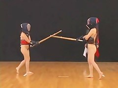 Two hot Japanese nude girls want to become hot samurai