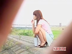 Pretty Japanese girl's ass hole filmed for a sharking video