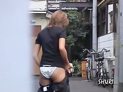 Hot Asian babe wears white panties in this sharking video