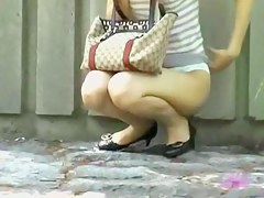 Wild skirt sharking video in a Japanese public park