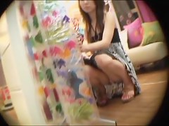 Cute upskirt treat filmed up close in the shopping mall
