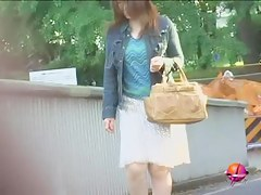 Public sharking of a sweet Japanese gal without any panties