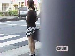 Asian babe skirt sharked while crossing the street