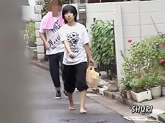 Street sharking after shopping for groceries in her market