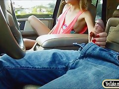 Stranded legal age teenager Dakota Skye team-fucked at the backseat of a car