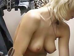 Naked blonde spy cam voyeured in the changing room