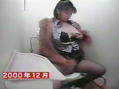 Kinky stockings girl gets self satisfaction on toilet cam