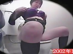Big titted amateur gets sexual fun on the toilet spy cam