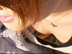 Real japanes downblouse brunette nip slip video