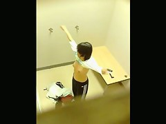 Hiddencam dressing room with asian brunettes