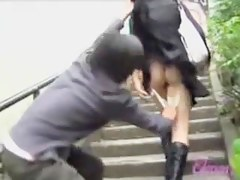Asian with the white bag got skirt sharked on the stairs